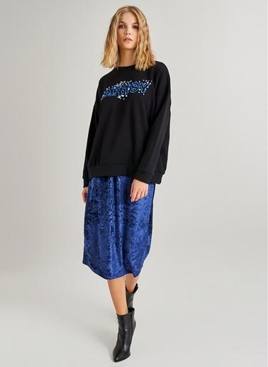 Monamoda Taş İşlemeli Sweatshirt Siyah